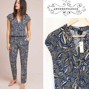NWT Anthropologie Bernice ClbltLeaf Print Jumpsuit